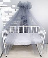 Балдахин-шатёр на детскую кроватку графитовый из мягкого фатина(евросетка) с большими бубонами
