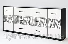 Комод Терра 2Д3Ш 2м білий глянець/чорний мат (Міромарк)