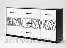 Комод Терра 2Д3Ш 1,6м білий глянець/чорний мат (Міромарк)
