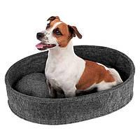Лежак Bronzedog овальний сірий для собак і котів M 40*52*11см