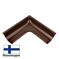Угол желоба внешний металлический 90°, коричневый, 125мм (1 сорт)