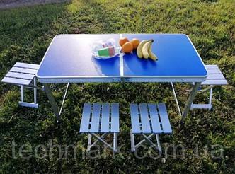 Усиленный стол для пикника раскладной с 4 металлическими стульями SunRise Vip-2108 (Синий)