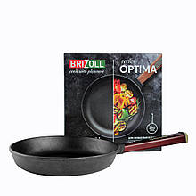 Сковорода чугунная тм brizoll 260х60 мм с ручкой  optima-bordo