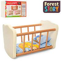 Деревянная кровать для куклы (спальное место 32*17 см, в комплекте постельное) FS 04 Молочный