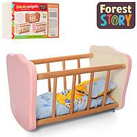 Деревянная кровать для куклы (спальное место 32*17 см, в комплекте постельное) FS 05 Розовый