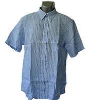 Льняная рубашка  голубого цвета в полоску, фото 1