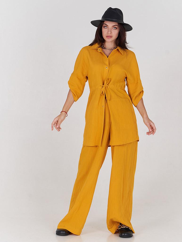 Женские брюки лен Сет желтые SOLH MKSH2528