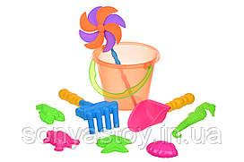Набор для игры с песком - с воздушной вертушкой (оранжевое ведро) 9 шт, 1+