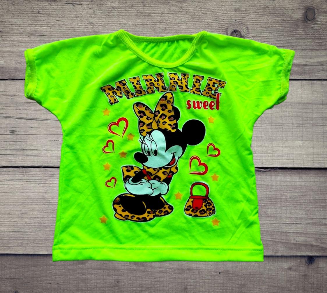 Детская футболка неоновая из фуликры Минни Маус