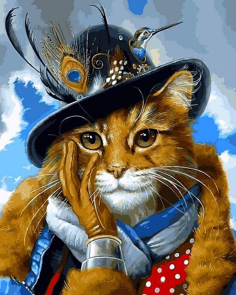 Картины по номерам 40×50 см Babylon Модный кот (VP 1392)