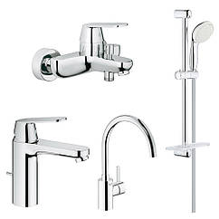 Набор смесителей для кухни, умывальника, ванны и душевая стойка M-size Grohe Eurosmart Cosmopolitan 126115MK