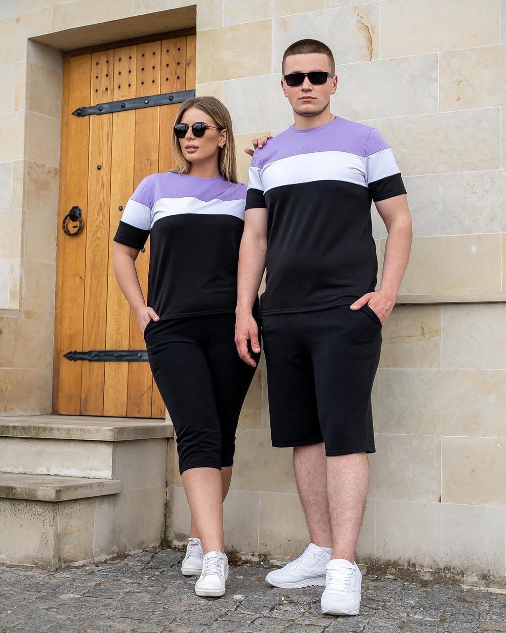Женский спортивный костюм летний футболка и велосипедки