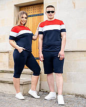 Женский спортивный костюм летний футболка и велосипедки, фото 3