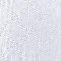 Жаккард хлопковый белый Листья и квадраты