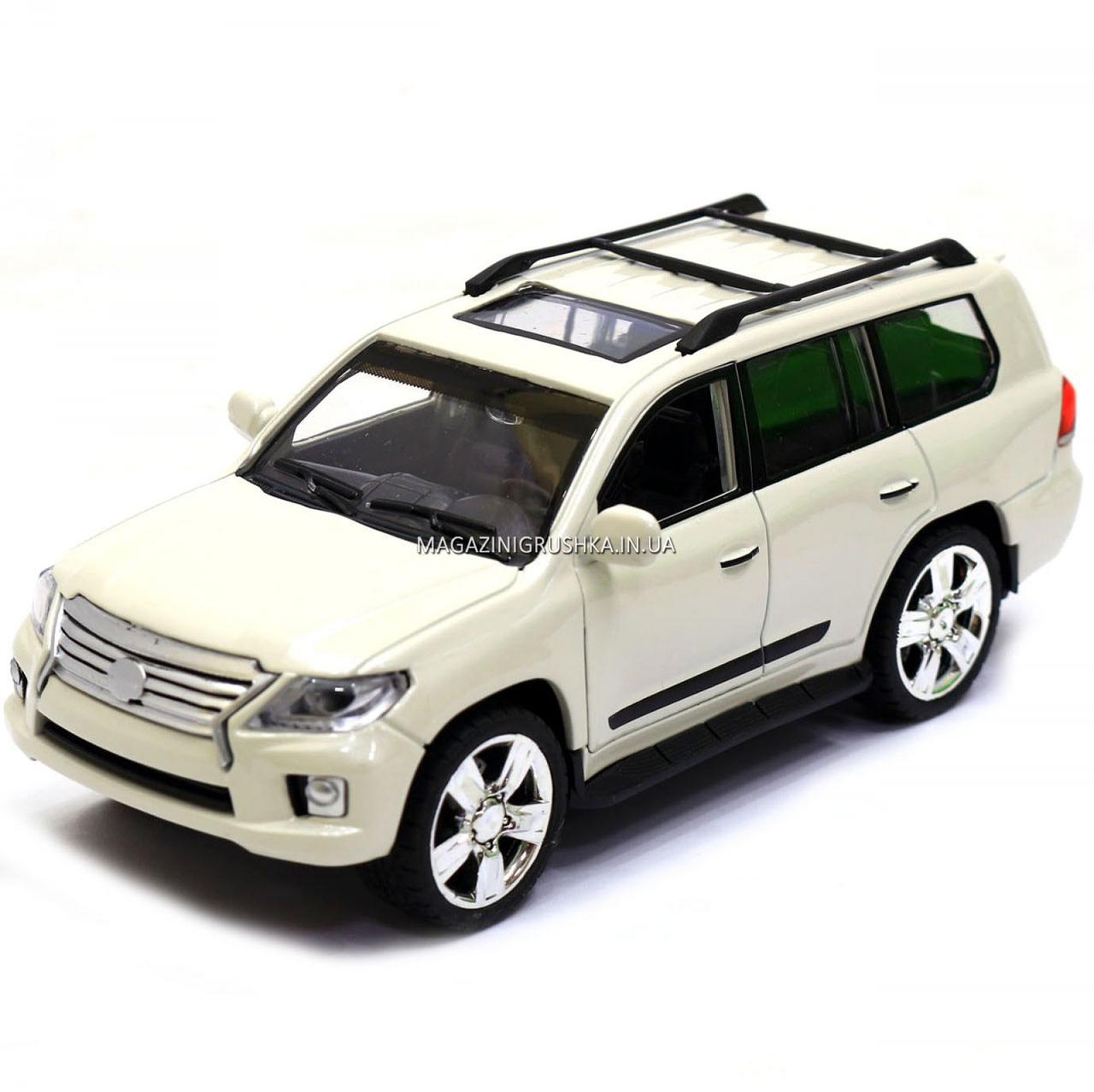 Машинка ігрова автопром «Lexus» Лексус джип, метал, 18 см, Білий (світло, звук, двері відкриваються) 7664