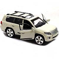 Машинка ігрова автопром «Lexus» Лексус джип, метал, 18 см, Білий (світло, звук, двері відкриваються) 7664, фото 3