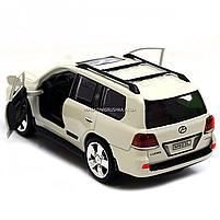 Машинка ігрова автопром «Lexus» Лексус джип, метал, 18 см, Білий (світло, звук, двері відкриваються) 7664, фото 4