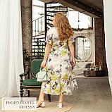 Літній яскравий сарафан з ефектом запаху тканину софт розміри більші від 48 до 66, фото 10