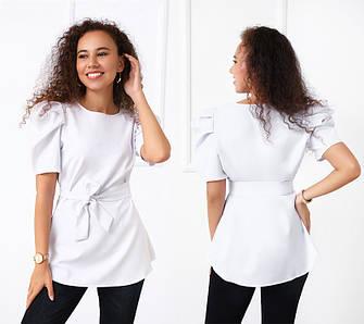 Жіноча блузка з пояском вільний крій з короткими рукавами ліхтарик Річна
