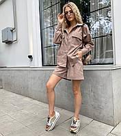 Женский повседневный льняной костюм с рубашкой и шортами
