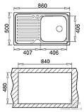 Кухонная мойка Ukinox WAVE 860.500 GT 8K декор, фото 3