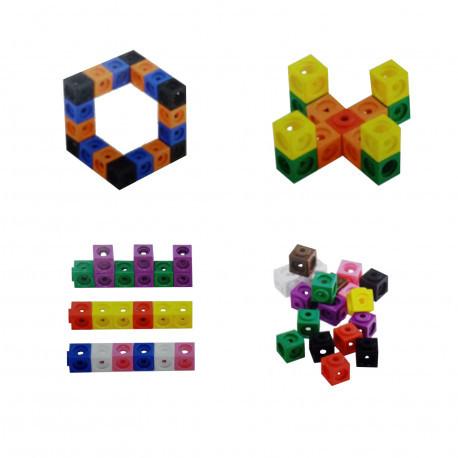 """Набор математических кубиков """"Строй, считай, измеряй"""" (100 элементов, 25 карточек) EDX Education"""