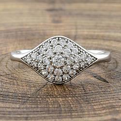 Кольцо Xuping 32061 белые фианиты позолота Белое Золото размер 17