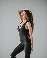 Комбинезон спортивный женский с пуш-ап черный