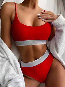 Жіночий червоний купальник топом роздільний, Гарний модний купальник 2021 з високою талією і посадкою