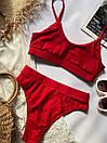 Женский красный купальник топом раздельный, Красивый модный купальник 2021 с высокой талией и посадкой, фото 3