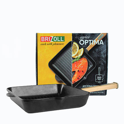 Чугунная сковорода гриль Optima, 280х280х50 мм Brizoll, фото 2