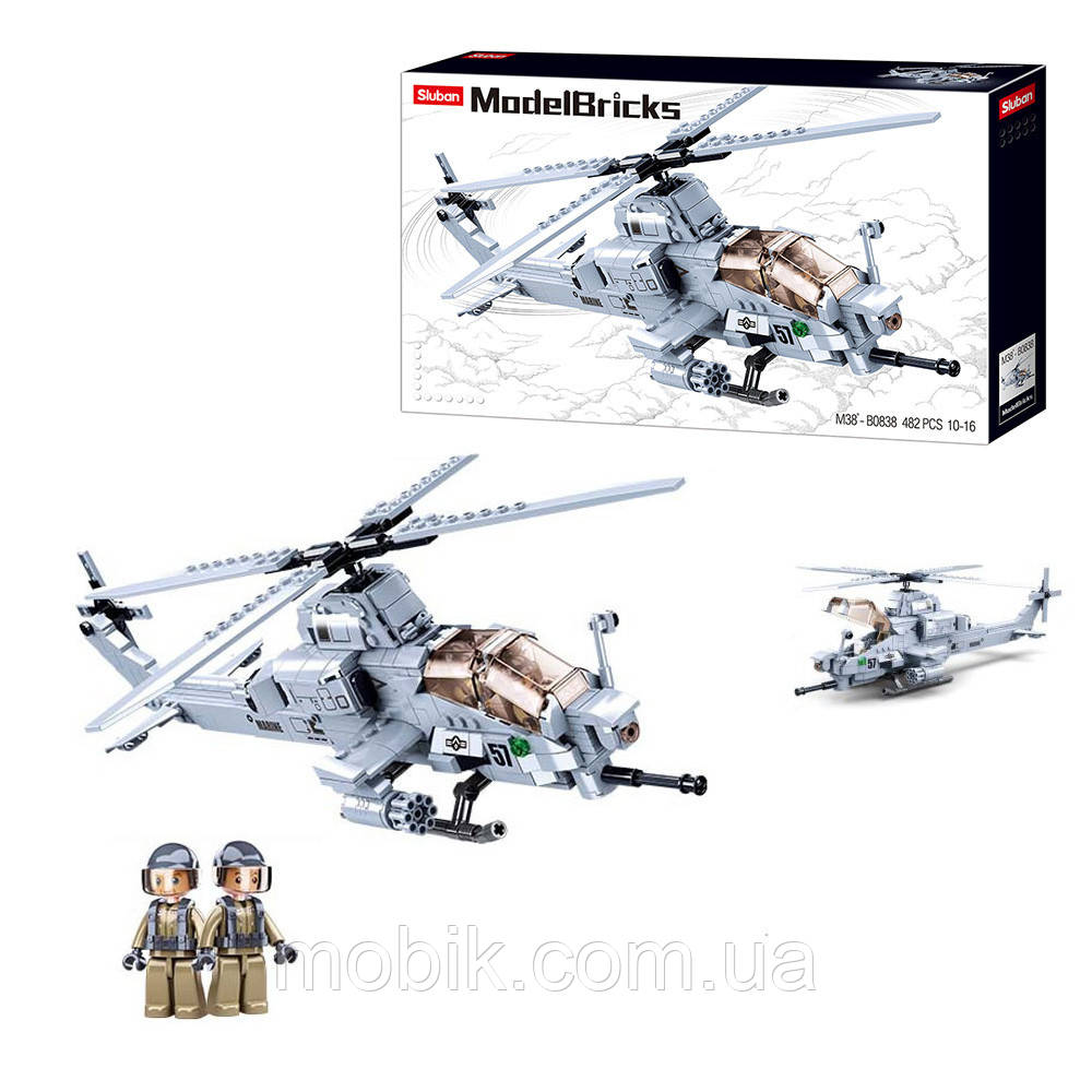 Конструктор SLUBAN M38-B0838 вертоліт, 42,3 см, фігурка, 482дет, в кор-ке,47-28.5-7см