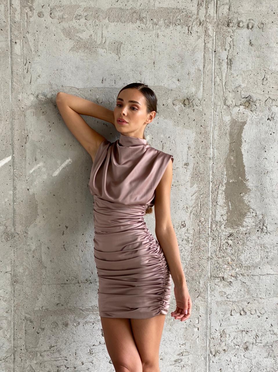 """Нарядное женское платье мини """"драпировка"""" без рукавов AniTi  575, мокко"""