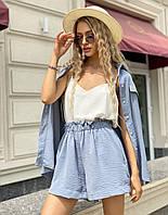 Женский летний костюм-тройка: шорты, рубашка и топ