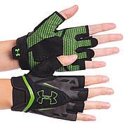 Перчатки для зала мужские Under Armour WorkOut BC-6305 размер XL, Черный-салатовый