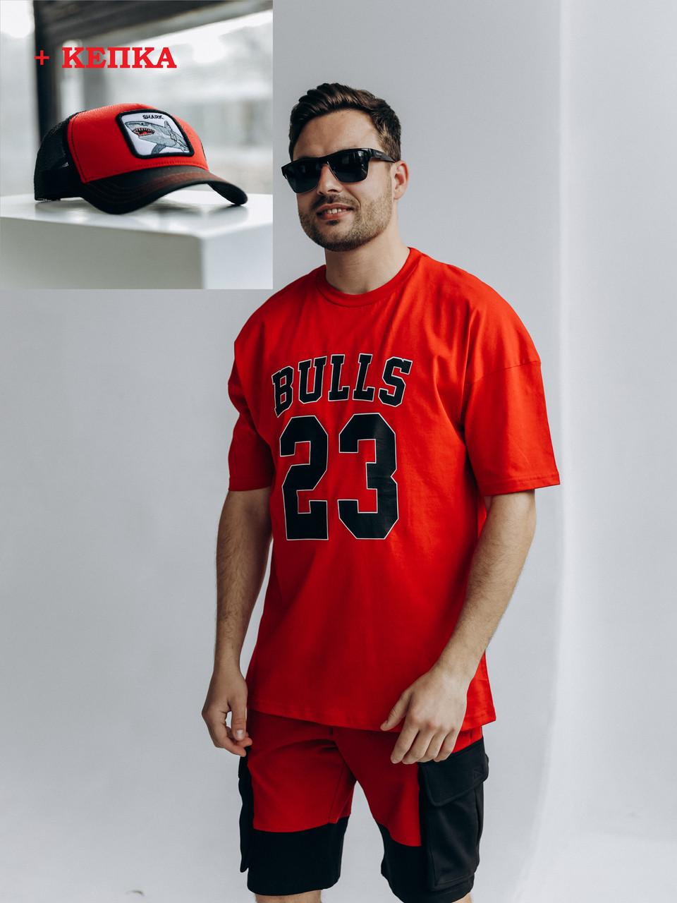 Чоловічий костюм літній прогулянковий шорти і футболка з кепкою чорно-червоний /Комплект чоловічий