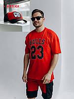 Мужской костюм летний прогулочный шорты и футболка с кепкой черно-красный /Комплект мужской