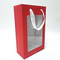 Коробка подарочная красная  350х210х100 мм. с пакетом и ручками, фото 1