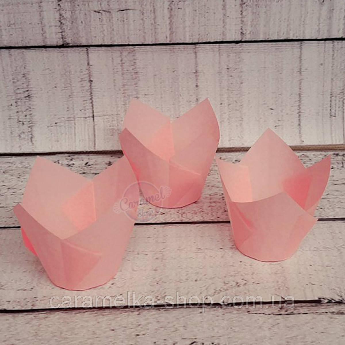 Формы бумажные для кексов Тюльпан 50*75 мм, Розовый нежный