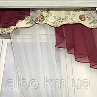 Короткий тюль з ламбрекеном для залу спальні вітальні, тюль з шифону атласу для будинку квартири кімнати, тюль до підвіконня в зал, фото 2