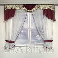 Короткий тюль з ламбрекеном для залу спальні вітальні, тюль з шифону атласу для будинку квартири кімнати, тюль до підвіконня в зал, фото 7