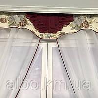 Короткий тюль з ламбрекеном для залу спальні вітальні, тюль з шифону атласу для будинку квартири кімнати, тюль до підвіконня в зал, фото 9