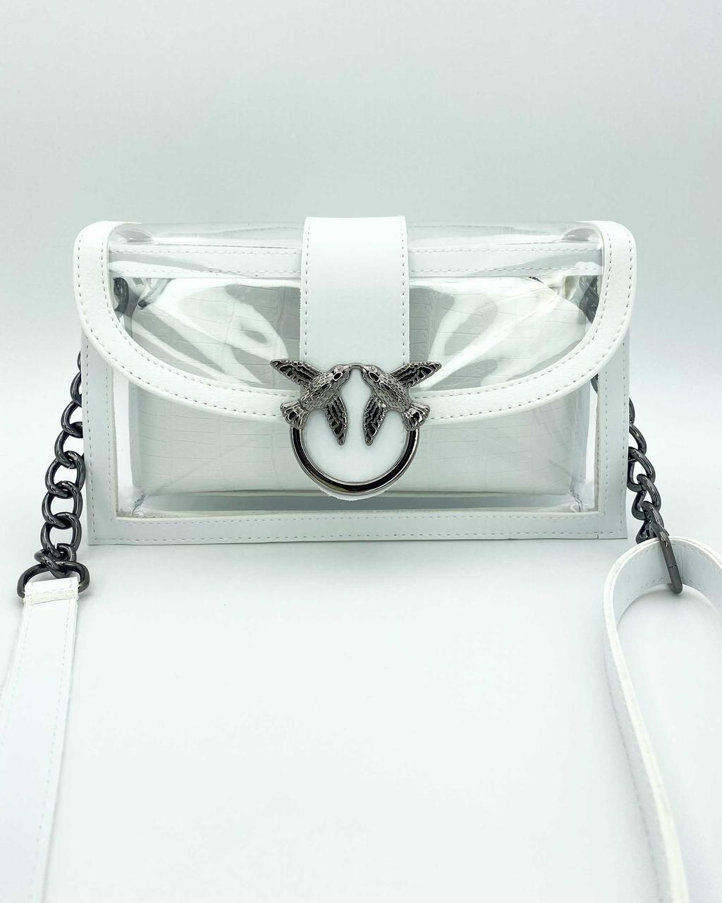 Стильная белая силиконовая сумочка с косметичкой
