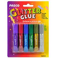 Клей для творчості, 6 кольорів, 6 мл, з блискітками, Pasco