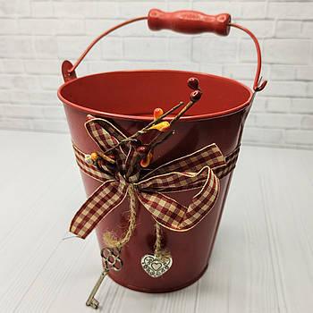 Ведерко с декором 12*13 см, красное