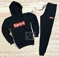 Спортивный мужской костюм Supreme (Супрем), черный, код OW-2063