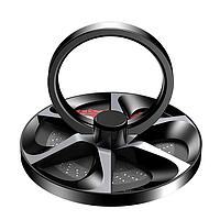Кольцо держатель для телефона с функцией подставки PopSocket холдер в форме колеса Baseus (черный)