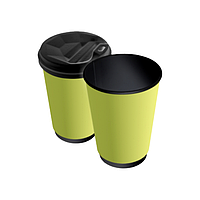 Бумажные стаканы 3500(400) мл Евро, ДаблВол, двухслойные, жёлтые, чёрные внутри, 25 шт./рук (арт 0081)