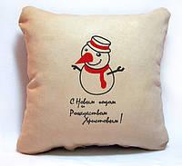 """Новогодняя подушка """"Снеговичок. С Новым годом и Рождеством"""" 35, фото 1"""