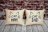 """Набор из двух подушек №71 """"Cat mom and cat dad"""", фото 1"""